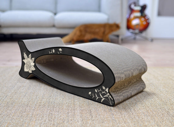 FURST - Scrapbook upscale and original scraper natural for cat of black color with silver asian flower