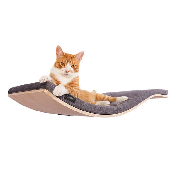 FURST - Design perch or wall shelf for cats in an ecological natural color covered with a smooth dark gray cushion