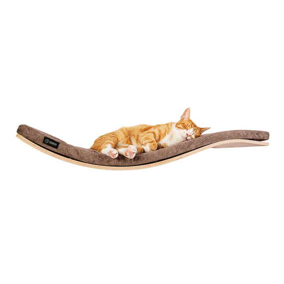 FURST - Design perch or wall shelf for the cat in an ecological natural color covered with a smooth cushion in taupe color