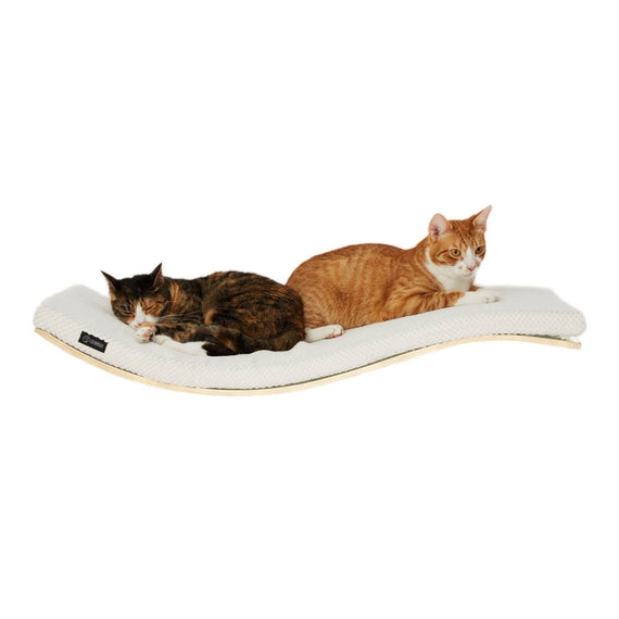 FURST - Design perch or wall shelf for cats in an ecological natural color covered with a soft white cushion