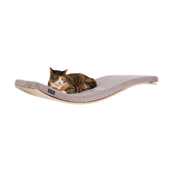 FURST - Design perch or wall shelf for cats in an ecological natural color covered with a soft cushion in cappuccino color