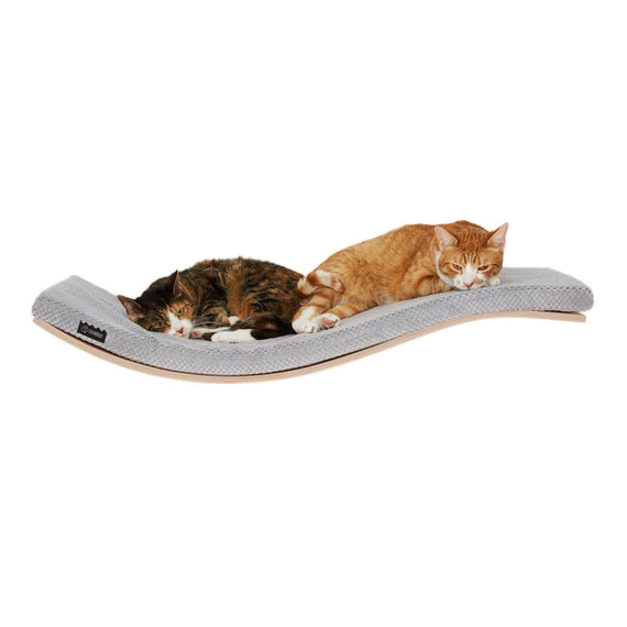 FURST - Design perch or wall shelf for the cat ecological natural color covered with a soft gray cushion