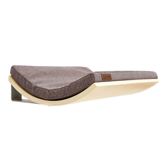 FURST - Design perch or wall shelf for the cat in maple color covered with an elegant pink gray cushion