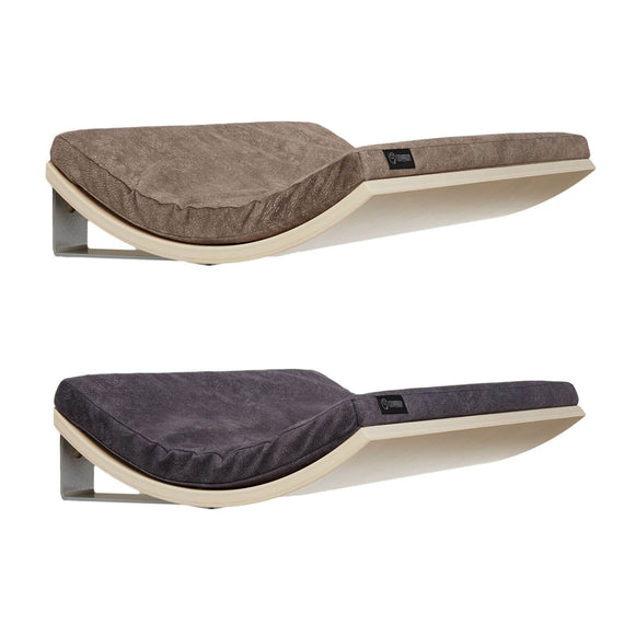 FURST - Design perches or wall shelves for cats in maple color covered with a smooth cushion in dark gray and taupe