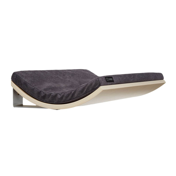 FURST - Design perch or wall shelf for the cat in maple covered with a smooth dark gray cushion