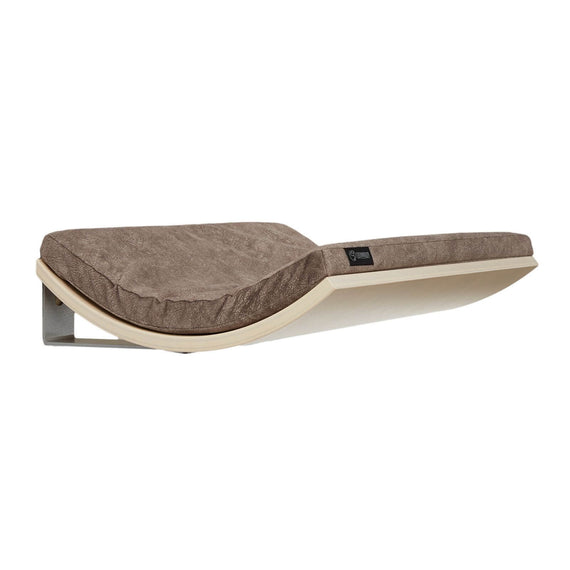 FURST - Design perch or wall shelf for the maple-colored cat covered with a smooth taupe-colored cushion