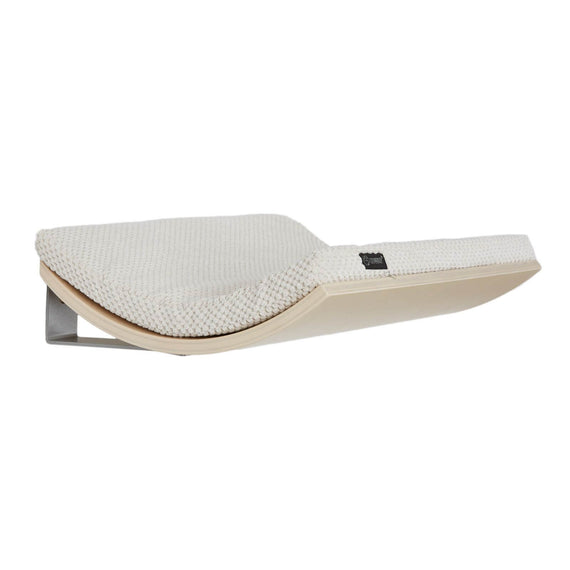 FURST - Design perch or wall shelf for cats in maple color covered with a soft white cushion