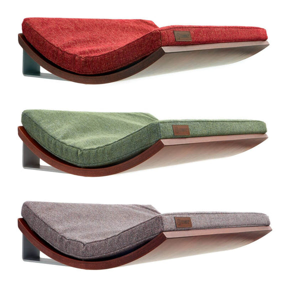 FURST - Perches or wall shelves design for the cat walnut hue covered with an elegant cushion of green, red or pink gray