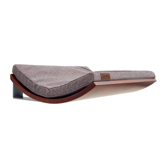 FURST - Perch or design wall shelf for the walnut-colored cat covered with an elegant pink-gray cushion