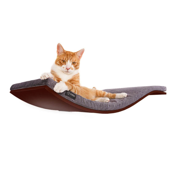 FURST - Perch or design wall shelf for the walnut-colored cat covered with a smooth dark gray cushion