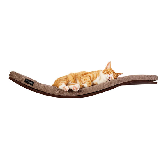 FURST - Design perch or wall shelf for the wenge-colored cat covered with a smooth taupe-colored cushion