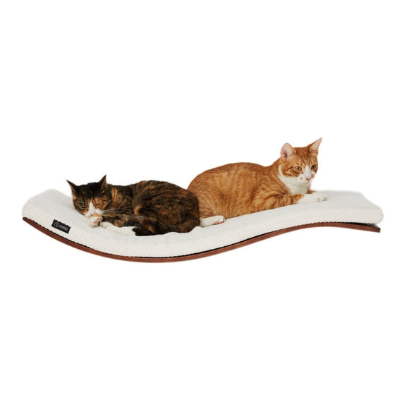 FURST - Perch or wall shelf design for the cat walnut stained covered with a soft cushion of white color