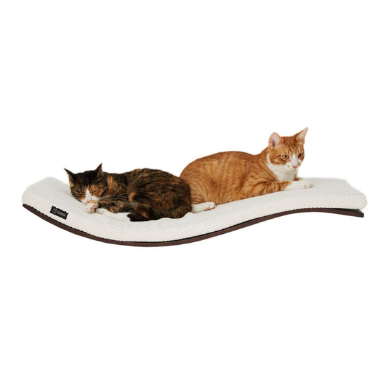 FURST - Design perch or wall shelf for the wenge-colored cat covered with a soft white cushion