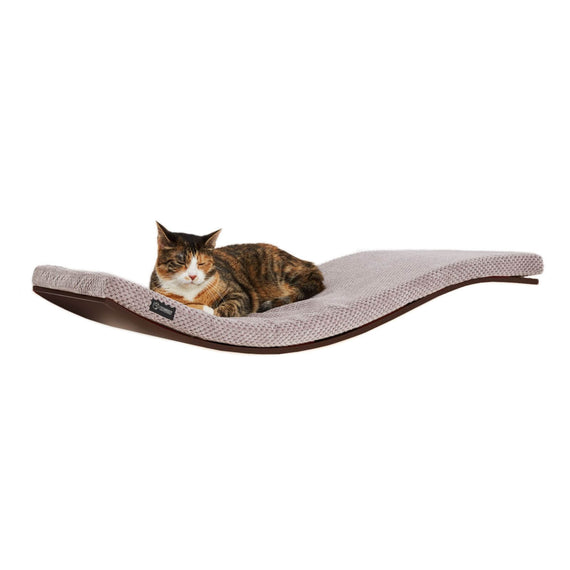 FURST - Perch or design wall shelf for the wenge-colored cat covered with a soft cushion of cappuccino color