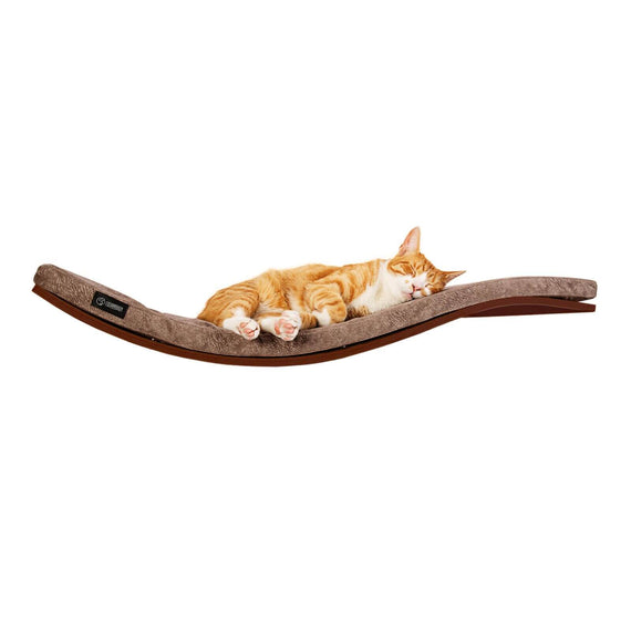 FURST - Perch or design wall shelf for the walnut-colored cat covered with a smooth taupe cushion