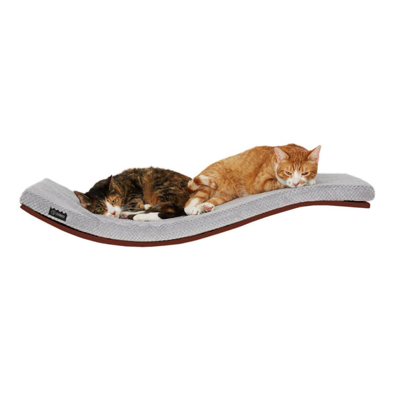FURST - Perch or design wall shelf for the walnut-colored cat covered with a soft cushion of gray color