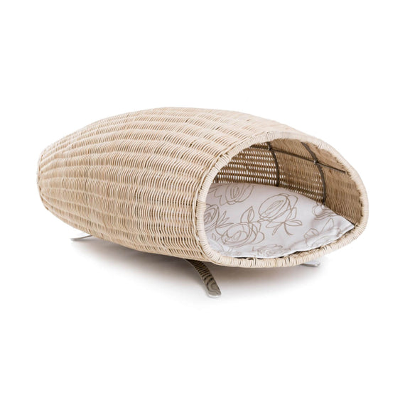 FURST - Baco raised cat lair in the shape of a cornucopia with a beige cushion