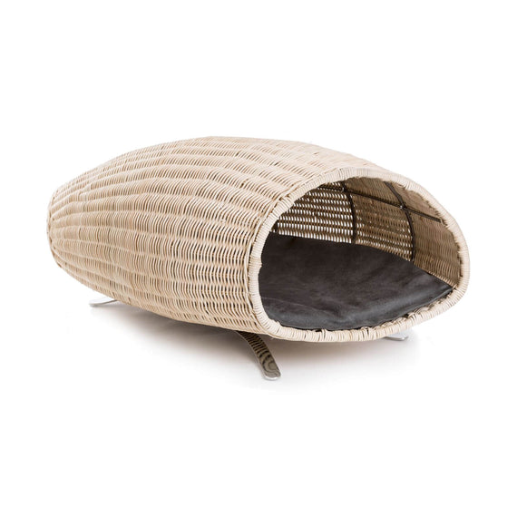 FURST - Baco raised cat lair in the shape of a cornucopia with a gray cushion