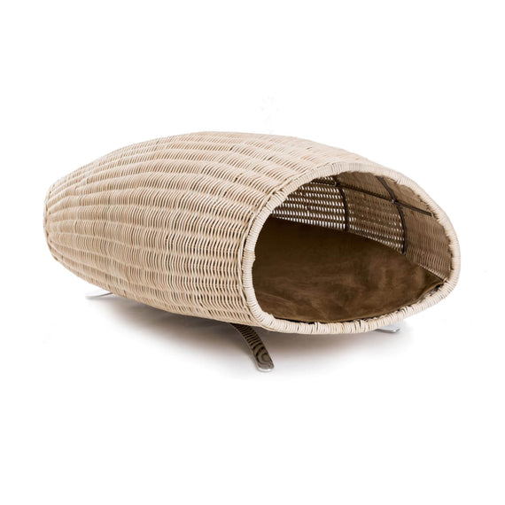 FURST - Baco raised cat lair in the shape of a cornucopia with a cashmere cushion