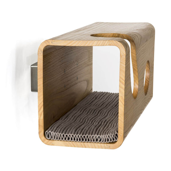 FURST - Legno oak cat wall den with gray wavy leather cushion