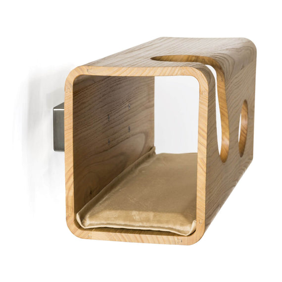 FURST - Legno oak cat wall den with sand cushion