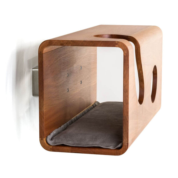 FURST - Legno wall cat den in walnut with a gray cushion