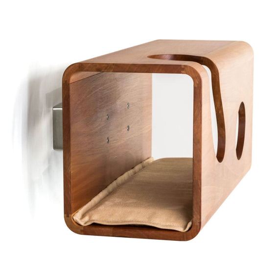 FURST - Legno wall cat den in walnut with a sand cushion