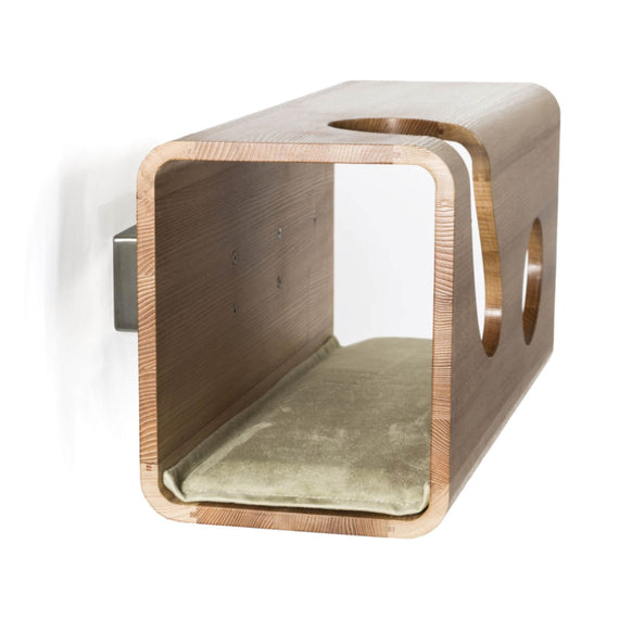 FURST - Legno elm cat wall den with a green cushion