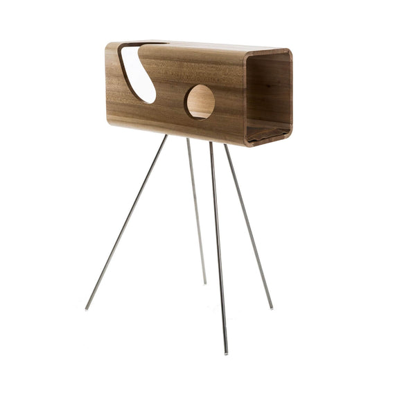 FURST - Legno lair for cat in elm with a camel leather cushion on its pedestal