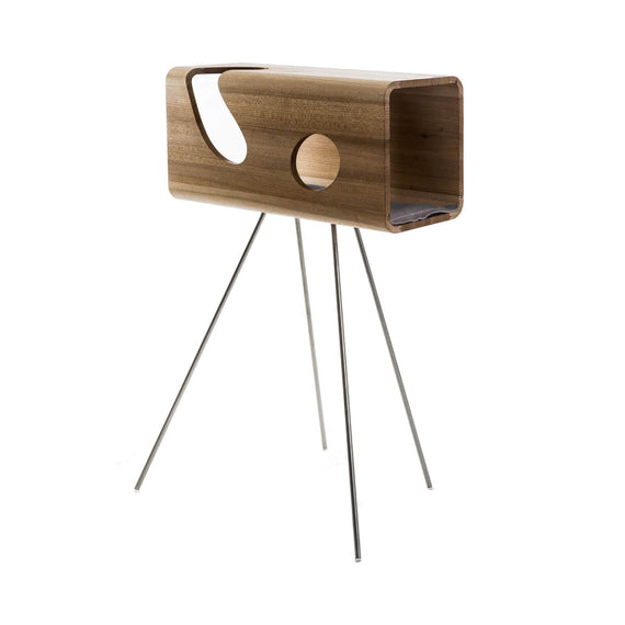 FURST - Legno lair for cat in elm with a gray leather cushion on its pedestal