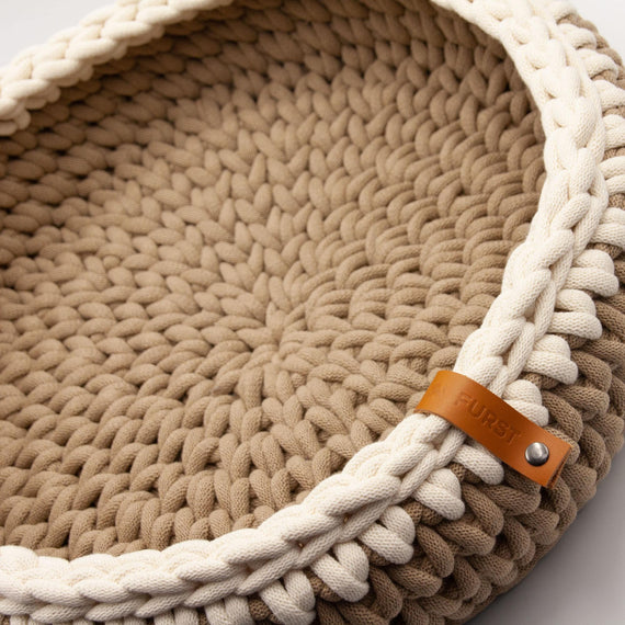 FURST - Oscar cat basket in delicate cotton, sand color and natural