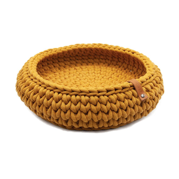 FURST - Oslo cat basket in delicate mustard-colored cotton