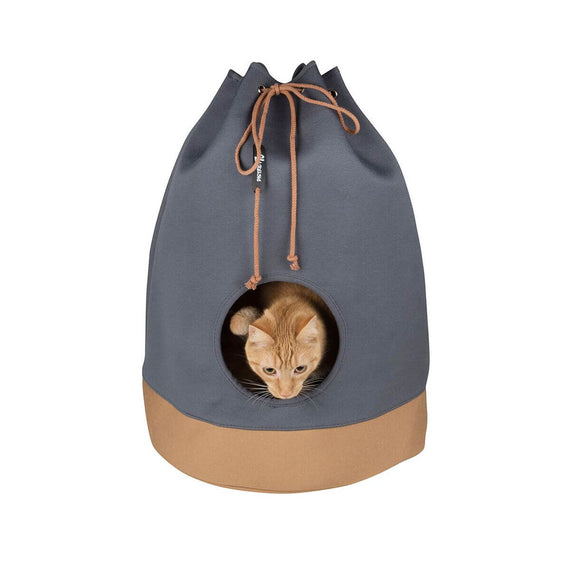 FURST - Original den for cat in the shape of a Marin bag in anthracite and cognac color