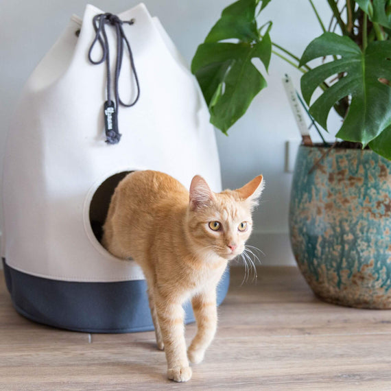 FURST - Original kitty for cat in the shape of a Marin bag in white and anthracite color