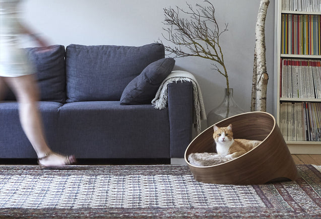FURST - Sublime basket covo high end for cat in walnut with its cushion taupe