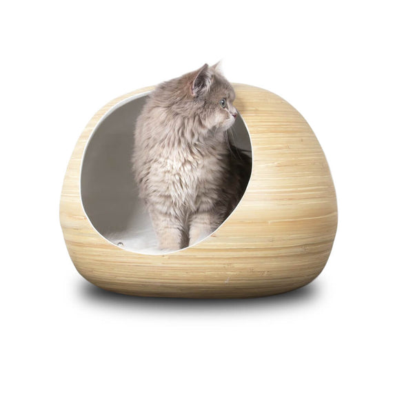 FURST - Design bola isca para gato de madeira de bambu natural high-end na cor interior branco