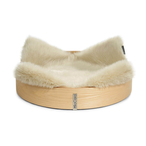 FURST - High quality anello ash cat basket with ivory mattress made from high quality synthetic fur