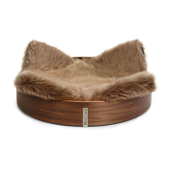FURST - High quality anello basket for walnut cat with taupe mattress in synthetic fur