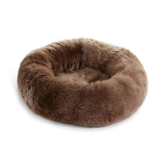 FURST - Confortable couffin lana pour chat en fourrure synthétique taupe marron