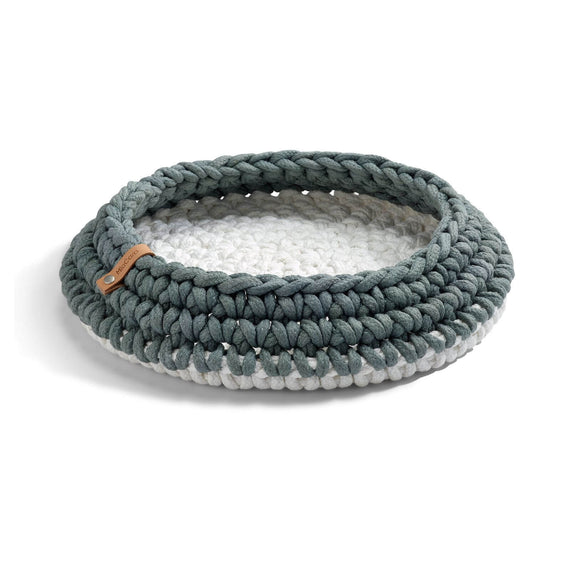 FURST - Basket nido for cat in white slate braided rope
