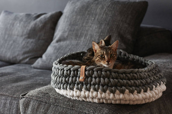 FURST - Very comfortable upscale basket for cat in braided rope FURST - Very comfortable high-end basket for cat in white slate braided rope