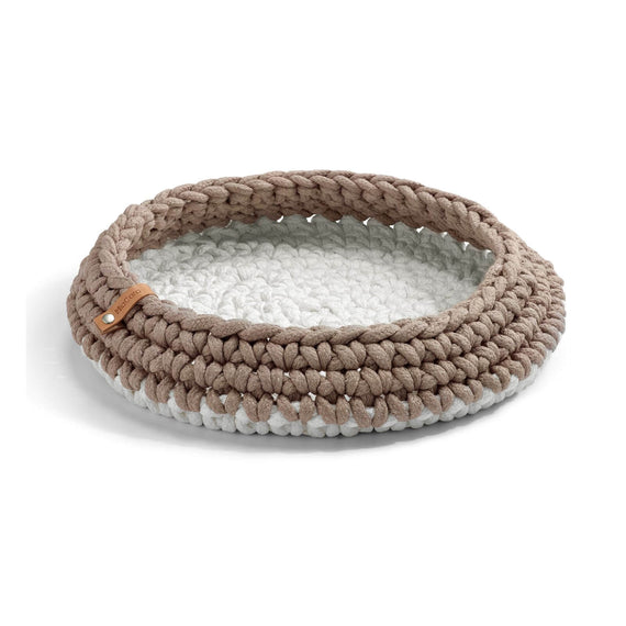 FURST - Basket nido for cat in white taupe braided rope