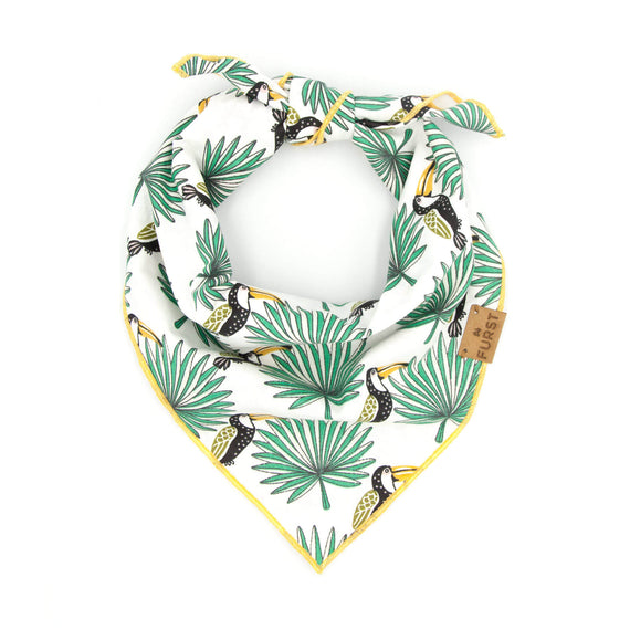 FURST - Elegant high-end jungle scarf with jungle and toucan motifs for dogs