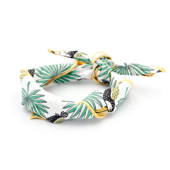 FURST - Amazone jungle and toucan style dog scarf knotted in chic headband