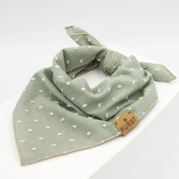 FURST - Almond green bandana for dog in plumetis