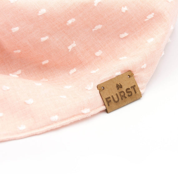 FURST - Detail of a vegan leather tag on a made in France bandana for dogs