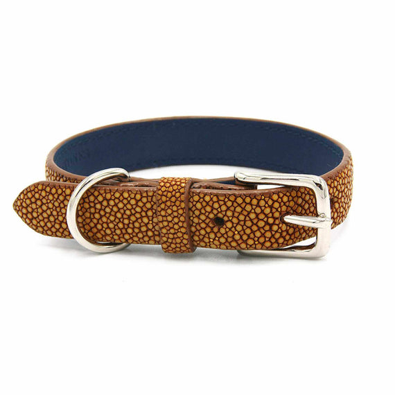 FURST - High quality dog collar in high quality mustard color shagreen