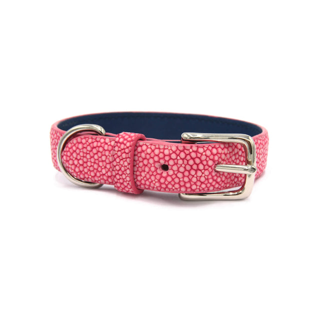 FURST - High quality necklace for little dog in high quality shagreen pink color