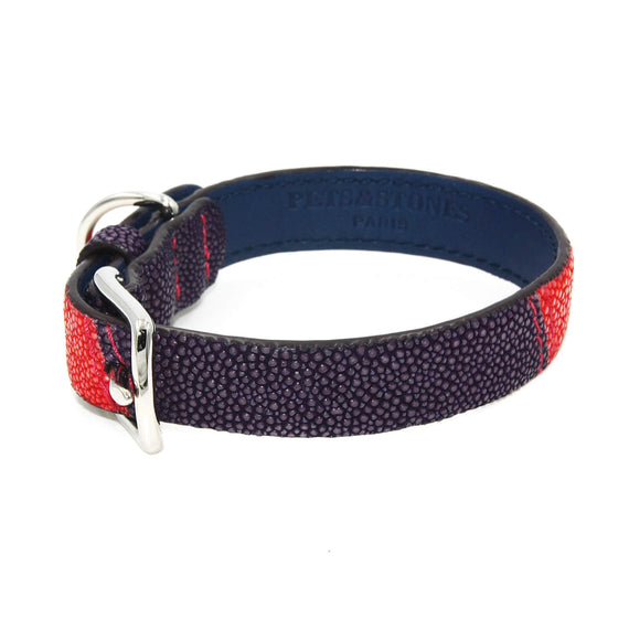 FURST - Premium necklace for dog shagreen high quality purple and coral two-tone