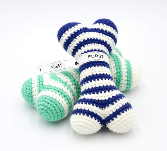 FURST - High-end Atlas dog toys in the form of bones in royal blue and sea green colors